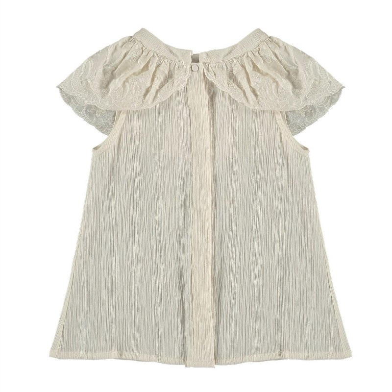 Blouse EMBROIDERED LACE RUFFLE Beige
