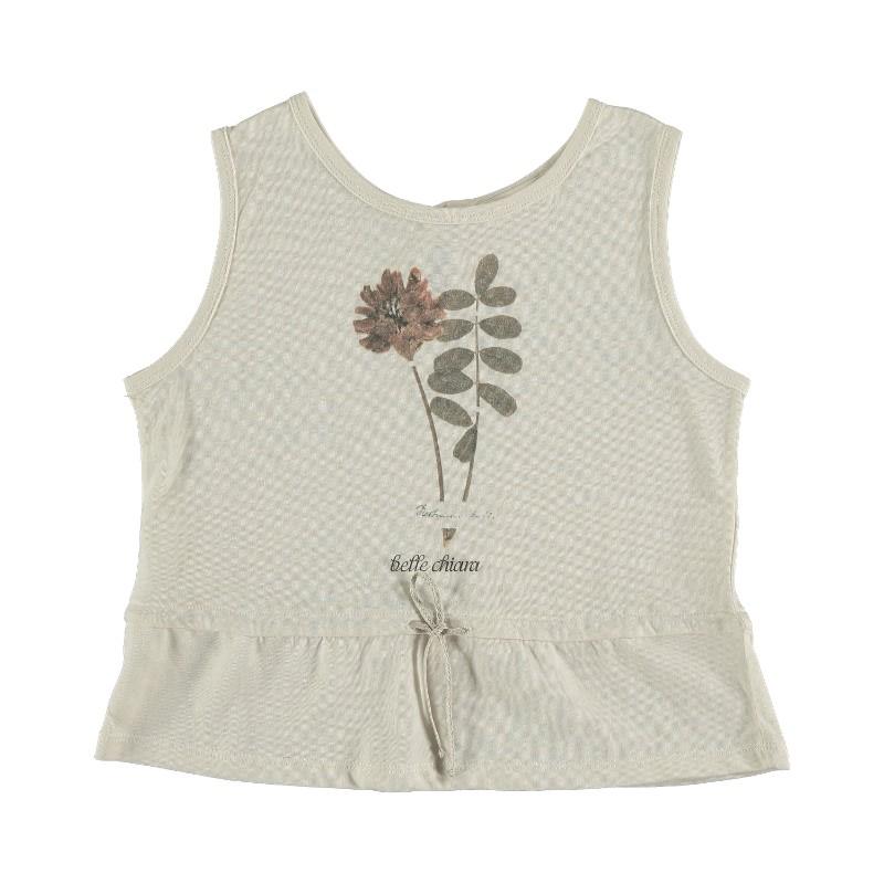 Sleeveless T-shirt PRINT HERBARIUM