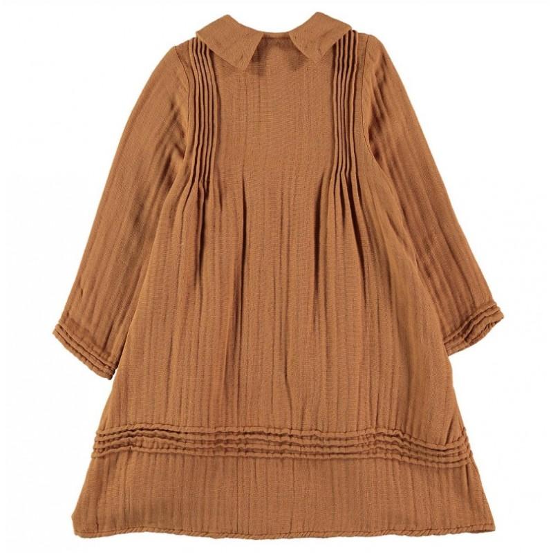 V02-Dress PLEATED DETAILS Rust