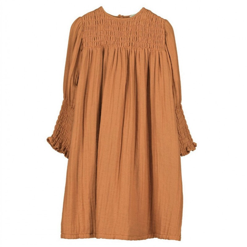 V07-Dress SMOCKED Rust