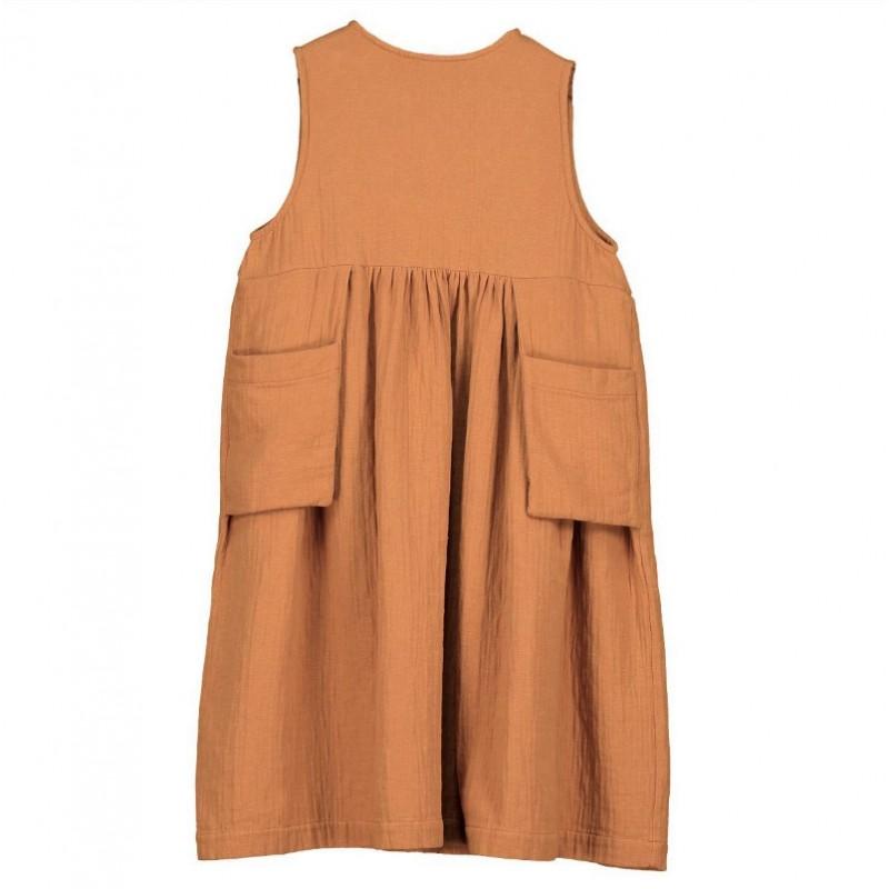 D03.1-Sleeveless dress POCKETS Rust