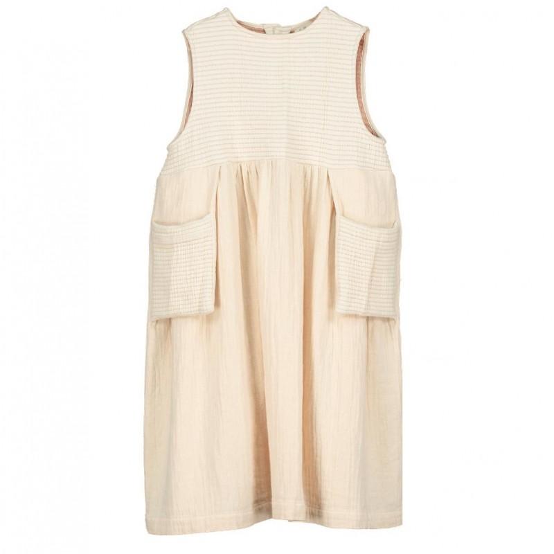 D03-Sleeveless dress POCKETS Cream
