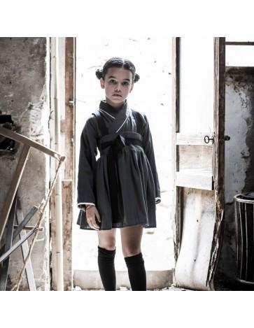 F01 - Falda TIRANTES Gris - Cinta negra