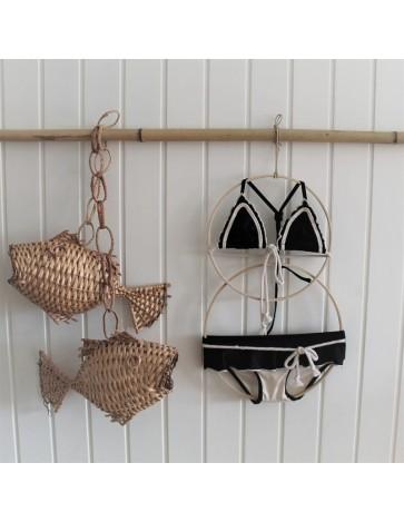 BK01.3- Bikini TRIANGULO LYCRA NEGRA+BEIGE