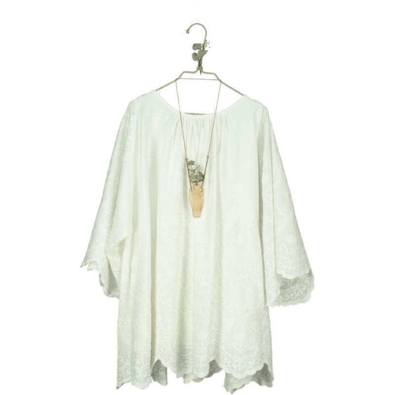 V09-Dress LINEN EMBROIDERED