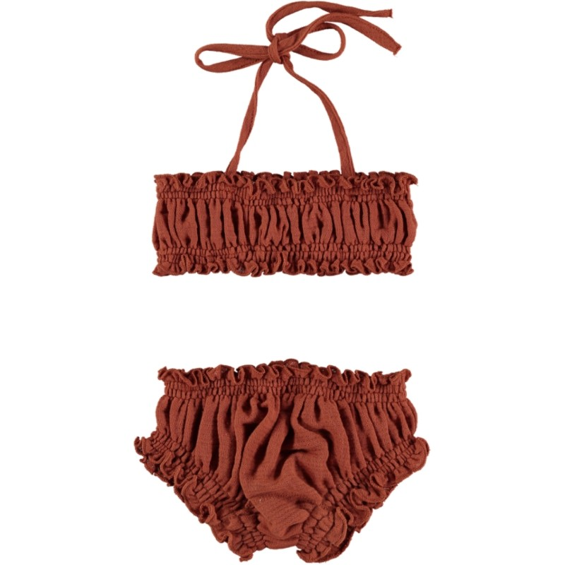 BK02-BIKINI Set Rubberised Terracotta