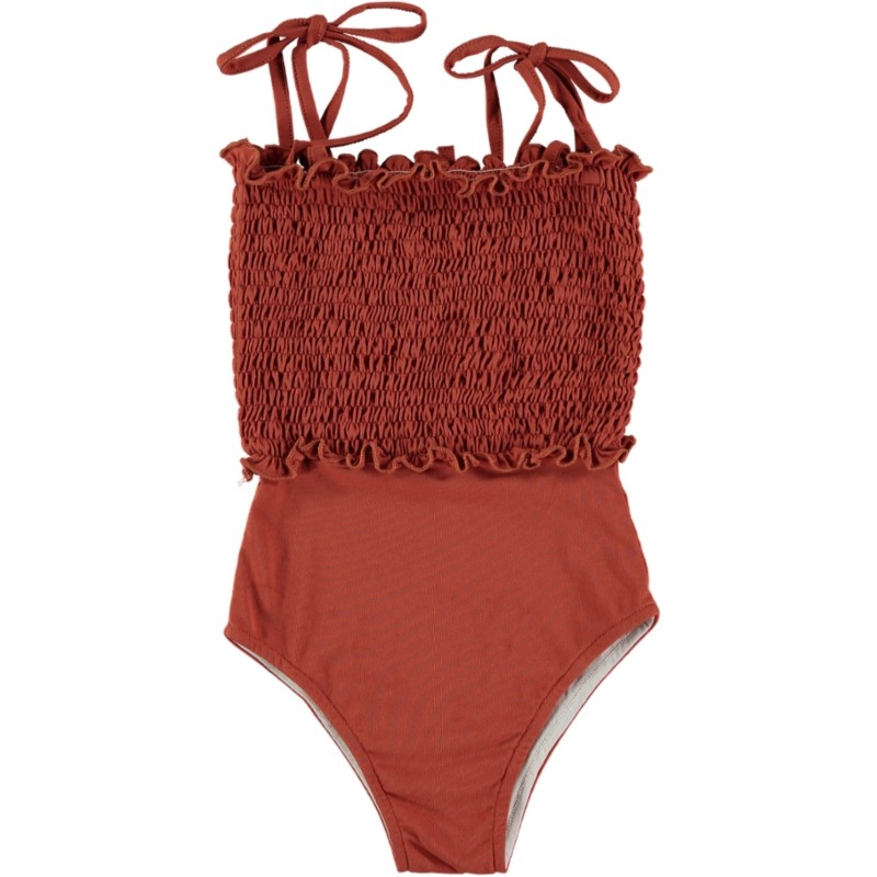 BA02-Swimsuit SMOCKED Terracotta