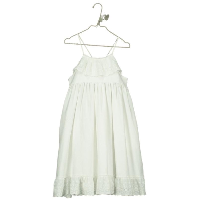 V06-Dress LACE EDGING Beige