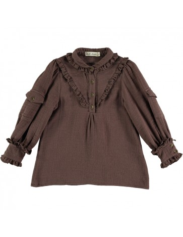 Blouse WITH POCKETS Brown