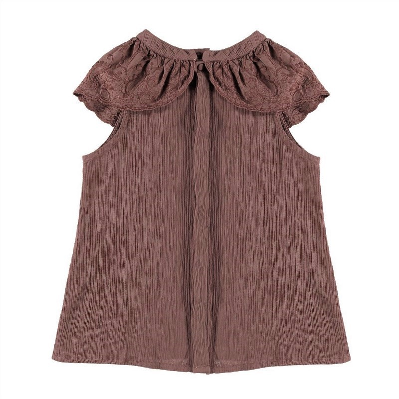 Blouse EMBROIDERED LACE RUFFLE Burgundy