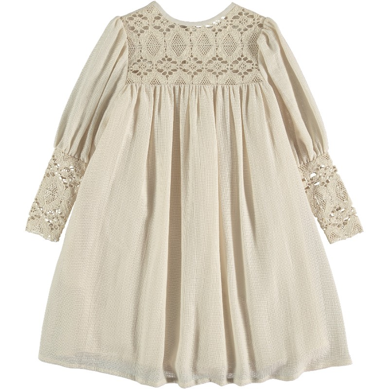 Dress EMBROIDERED LACE Beige