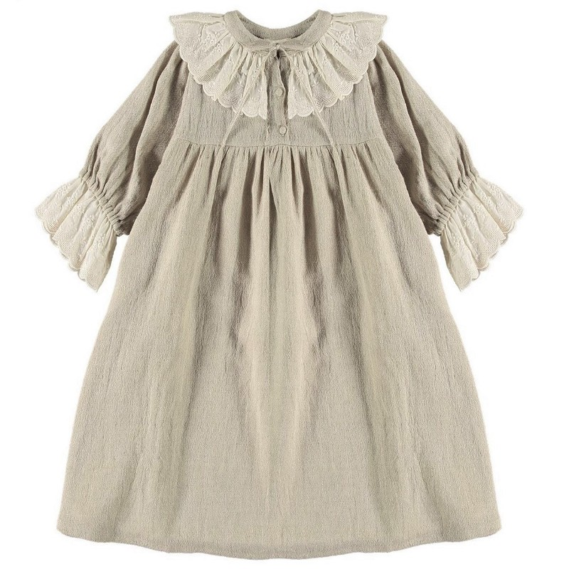 Dress EMBROIDERED LACE Natural Linen